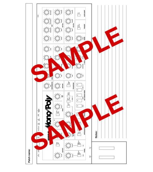 Picture of Korg Mono/Poly Blank Patch Sheets - PDF Download